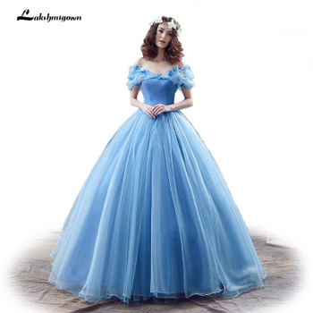 New Movie Deluxe Adult Cinderella Wedding Dresses Blue Cinderella Ball Gown Wedding Dress Bridal Dress 26240