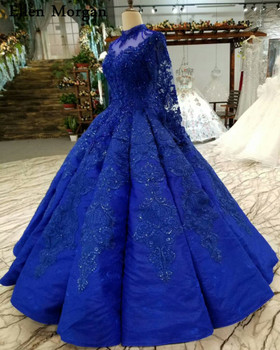 Royal Blue Long Sleeves Wedding Dresses 2018 for Women Lace up High Neck Floor Length Lace Pearls Ball Gowns Puffy Bridal Gowns