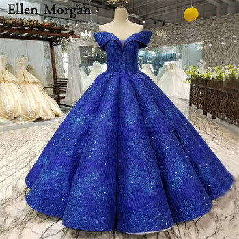 Colorful Royal Blue Ball Gowns Wedding Dresses 2018 Custom Made Sexy Sweetheart Off Shoulder Floor Length Glitter Bridal Gowns