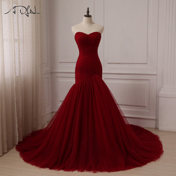ADLN Cheap Burgundy Wedding Dress Sweetheart Sleeveless Tulle Mermaid Wedding Dresses Vestido De Novia Lace-up Back Custom made