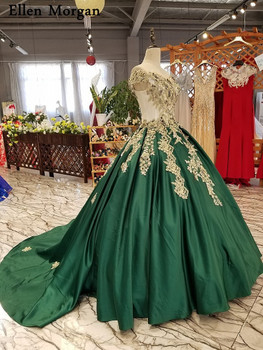 Dark Green Satin Ball Gowns Wedding Dresses 3D Flowers Lace Pearls for Women Garden  Real Photos Puffy Long Bridal Gowns 2018