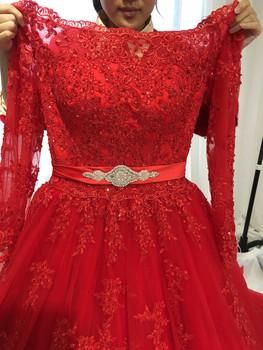 Long Sleeve Off Shoulder Red Wedding Dress vestido de noiva princesa