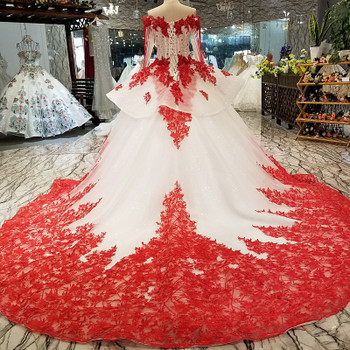 AXJFU white lace princess red flower beading crystal ruffles vintage wedding dress luxury long pearls wedding dress 05410