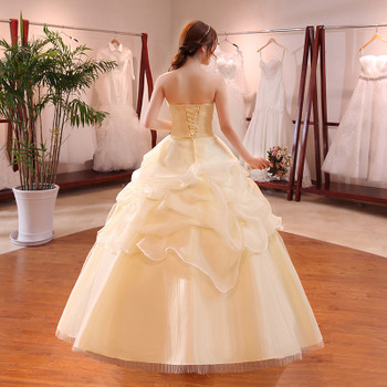 Hot Sale Wholesale Champagne Red White Wedding Dress 2018 New Arrival Ruffles Appliques Sweetange Korean Style bride Summer