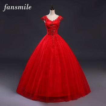Fansmile Red V-neck Robes de Mariee Vintage Lace Up Wedding Dress 2017 Cheap Red Bridal Dress Real Photo FSM-139F