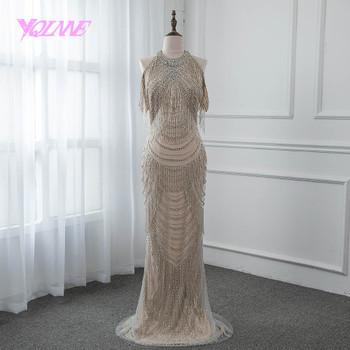 YQLNNE Gorgeous Rhinestones Evening Dress 2018 Long Mermaid Slit Back Prom Gown Vestido De Festa Pageant Dresses