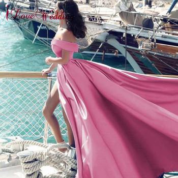 iLoveWedding Pink Evening Dresses Sexy V Neck Off the Shoulder Satin A Line Elegant Long Prom Party Gown Vestido de Festa Curto
