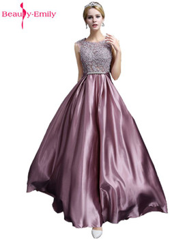 Beauty Emily Long Lace Dark Pink Evening Dresses 2018 A-line Floor-Length Formal Party Prom Dresses O-neck Sleeveless Bow