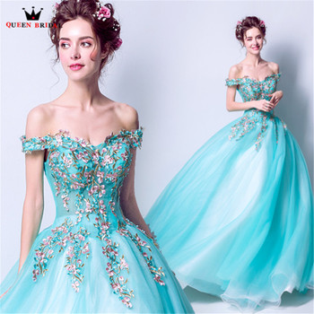 QUEEN BRIDAL Blue Evening Dresses Fluffy Embroidery Beaded Pearls Long Formal Party Dress Gowns 2018 New Vestido De Festa LS80