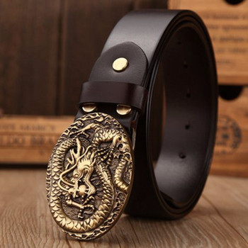 Brand luxury solid brass dragon elliptical buckle full grain leather belts men high quality belt size 130 cm coffee girdle jeans