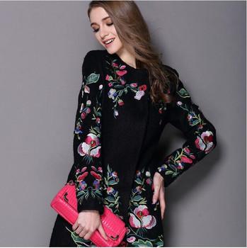 2017 women winter coat embroidered neck long sleeved O button female coat elegant fashion coat