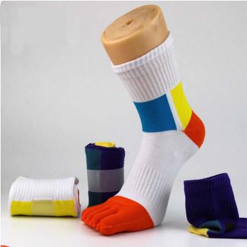 [EIOISAPRA]Fashion Fiber Toe Socks Men Casual Colorful Shining Socks Male Crew Five Finger Absorb Sweat Breathable Socks