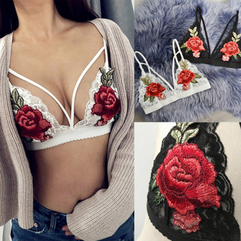 Sexy black push up bra women lingerie Lace Embroidery Floral strappy Unpadded bra wirefree bralette top backless intimates