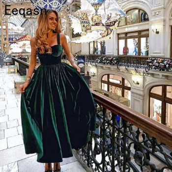Vintage Tea Length Cocktail Dress Elegant 2018 Sweetheart Green Velvet Ladies Formal Party Gown Homecoming Dresses