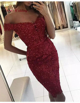Hot New 2018 Sweetheart Off the Shoulder Lace Applique Beaded Pink Lace Fashion Party Cocktail Dresses