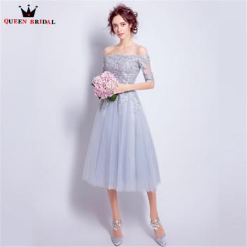QUEEN BRIDAL Cocktail Dresses A-line Tea Length Half Sleeve Lace Beading Short Party Gown 2018 Vestido De Festa JW50M