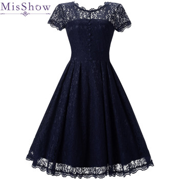 Vintage Cocktail Dresses A-Line Scoop Neckline lace Elegant Summer Women 2018 Short Vestidos Sexy Women button Cocktail Dresses