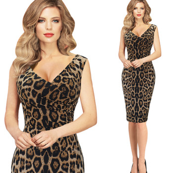 2017 Summer Hottest Women's Sexy Leopard Print Dress V Collar Sleeveless Waist Ruched Tank Night Club Party Tight Dress