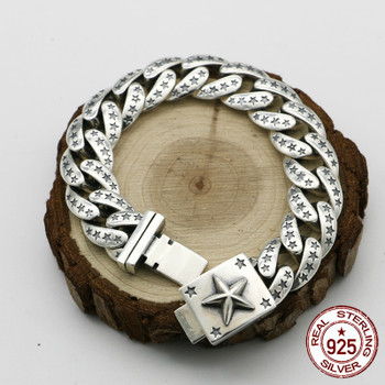 100% S925 sterling silver bracelet personality fashion classic punk youth jewelry star shape to send a gift of love 2018 hot