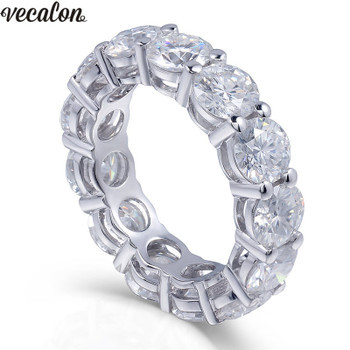 Vecalon 925 Sterling Silver Eternity ring 6mm 5A Zircon Sona Cz Engagement wedding Band rings for women Bridal Finger Jewelry