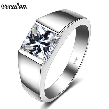 Vecalon Luxury Jewelry wedding Band ring for Men 4ct 5A Zircon cz 925  Sterling Silver Engagement Finger ring fashion Jewelry