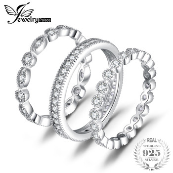 JewelryPalace Fashion 2.15ct Cubic ZirconiaS 3 Eternity Band Rings For Women Pure 925 Sterling Silver Ring Fashion Newes Jewelry
