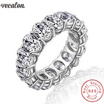 Vecalon 2018 Promise Wedding Bands Ring 925 Sterling Silver Oval cut 5A Zircon Cz Engagement rings for women men Finger Jewelry
