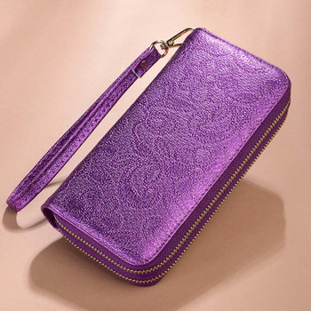 NEW Vintage Double Zipper Wristband Wallets Women Card Holder Ladies Clutch Purse Cell Phone Pocket Large Capacity Wallet Female