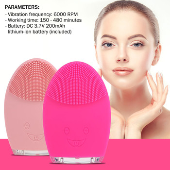 Mini Electric Face Cleansing Brush Rechargeable Silicone Facial Cleansing Deep Pore Cleaning Water-Resistant Vibrating Massager