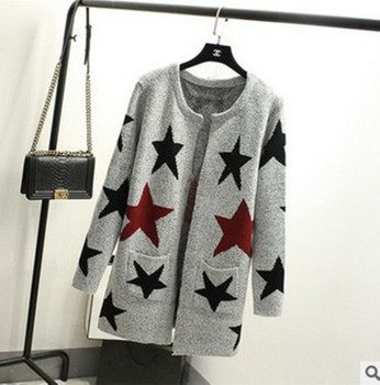 New Autumn Spring Women Sweater Cardigans Casual Warm Long Design Female Knitted Sweater Star Printed Cardigan Sweater Lady A007