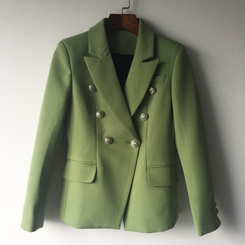 HIGH QUALITY New Fashion 2018 Designer Blazer Jacket Women's Lion Metal Buttons Double Breasted Blazer Outer Coat Green