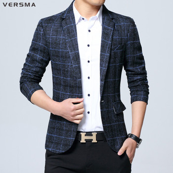 VERSMA Vintage Trend Plaid Business Casual Suit Blazer Jackets Coats Men Korean Slim Fit Groom Wedding Dress Blazers Jacket Men