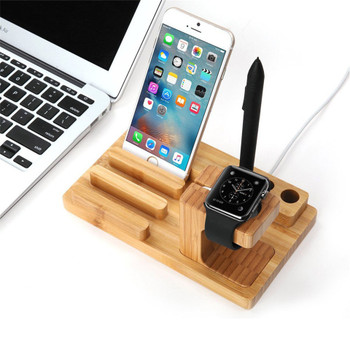 3 In 1 USB Charging Dock Station Universal Wood Mobile Phone Mount Holder for Apple Watch iPhone XR XS Max X 8 7 6S 6 Plus iPad