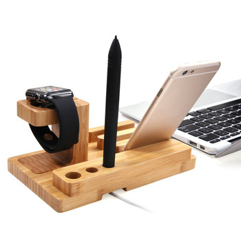 Multi Device Desktop Bamboo Wood Charging Station  Dock Stand Holder for iPhone iWatch Support iPad Mini Tablet Stylus Pen