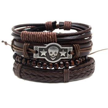 XiongHang Multi Layer Leather Bracelet Beads Men Women Occasionally Soft Retro Jewelry Jewelry Bracelet 4pcs In 1 Set