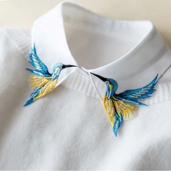 Newly Design Fashion Heavy bird embroidery necklace vest blouse Shirt false Collar neck Women Detachable Vertical Small Lapel
