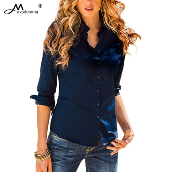 Avodovama M Women Elegant Blouse Long Sleeve OL Chiffon Sexy Shirt Casual Autumn Ladies Top