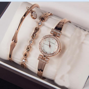 3pc/set Luxury brand Women Rhinestone Watch Crystal Ceramic Watches Female Quartz Wristwatches Lady Dress Watch relogio feminino