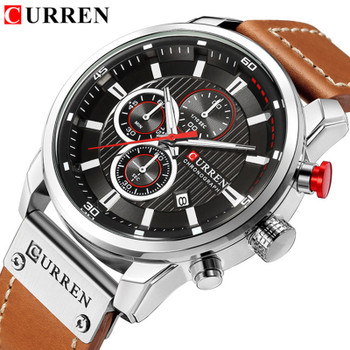 Watches Men Luxury Brand CURREN Chronograph Men Sports Watches Leather Quartz Wristwatch Relogio Masculin Clock Army Military