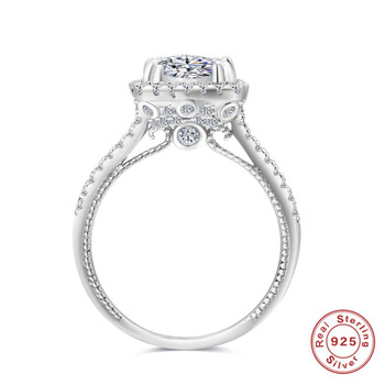 Romad 2018 Classic Luxury Real Solid 925 Sterling Silver Ring Zircon Wedding Jewelry Rings Engagement For Women Size 4.5 -11