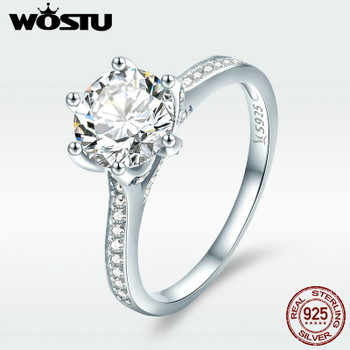 WOSTU 925 Sterling Silver 3 Carat AAAAA Round CZ Finger Ring for Women Luxury Wedding Anniversary Engagement Jewelry Gift DXR342
