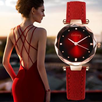 New Womens Watches Luxury Dress Relojes Crystal Gogoey Women Elegant Quartz Wristwatch Mujer Pu Leather Watch Feminino Relogio