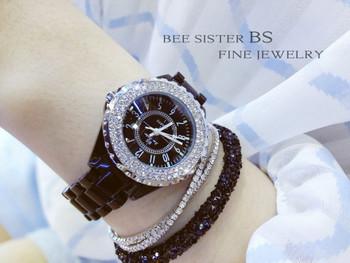 2018 Crystal Starlight Quartz Watch Relogio Feminino Luxury Dress Women Watches White Ceramic Diamond Rhinestone Wristwatches