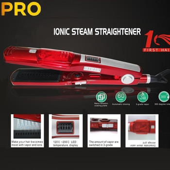 Original Ceramic titanium plate hair straightener steam fast professional flat iron electric straightening Temperature control
