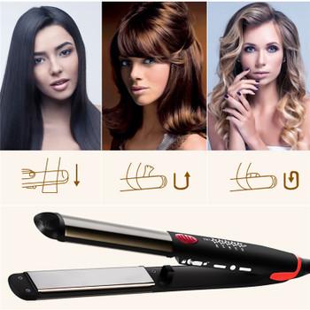 Professional Titanium Ceramic LED Display Digital Temperature Control Hair Straightener Curler Dual Use Hair Salon Styling Tool