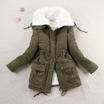New 2018 Winter Coat Women Slim Army Green Outwear Medium-Long Wadded Jacket Thick Hooded Red Cotton Wadded Warm Autumn Parkas