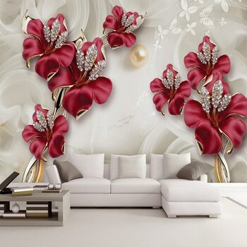 Custom Wallpaper For Walls 3 D Modern European Style Art Mural Diamond Jewelry Flower Living Room TV Background Photo Wallpaper