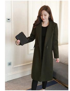 Autumn Winter Medium long Solid color Women Woolen Jacket 2019 New Leisure Long sleeves Slim Women Woolen Jacket S-XL SES387