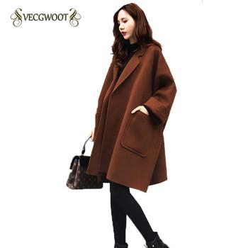 2019 New Women's Winter Jacket Loose Large Size Long Woolen Coat Cocoon Caramel Color Simple Coat Female Outwear S-2XL WYT546