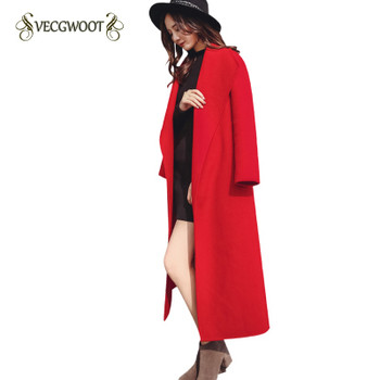 2019 Winter New Korean Red Woolen Jacket women's Slim Collect waist Long knee over Thick Woolen Coat Female Outwear S-2XL WYT550